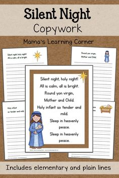 Silent Night: Free Copywork 12 Days Of Christmas, Christmas Colors, Christmas Ideas, Printable Coloring Pages, Coloring Pages For Kids, Preschool Activities At Home, Christmas Coloring Pages, Holy Night, Silent Night