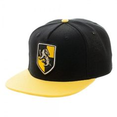 Harry Potter: Hufflepuff Crest Snapback - Officially Licensed Harry Potter Product - 3D Embroidered Hufflepuff Shield - 85% Acrylic 15% Wool - Adjustable - One Size Fits Most