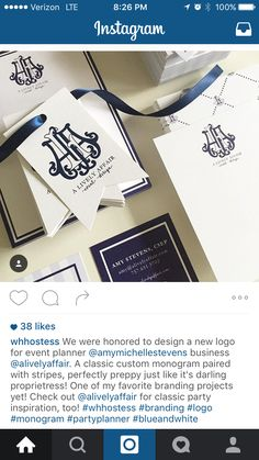 Custom monogram logo by WH Hostess
