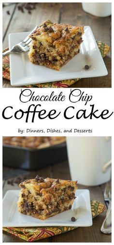 Chocolate Chip Coffee Cake – A light and fluffy coffee cake with a layer of chocolate chip streusel in the middle and on top!