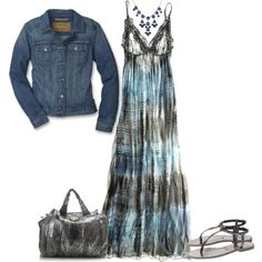 Love a jean jacket with a maxie dress, created by jfuller39 on Polyvore. No one could pull this off quite like @Tanya Knyazeva Knyazeva Zaharia