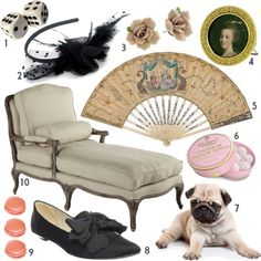 """Marie mood board created by Amy Merrick. [I have removed the $ on the prices now showing as ( ) so the annoying amount in dollars strip does not show]  1. Dice (5), 2. black tulle headband (8), 3. porcelain rose earrings (16), 4. framed token of Marie Antoinette (20), 5. 18th century antique fan (1,233), 6. pink champagne truffles (15), 7. adoptable pug puppy (priceless), 8. All black """"bow bow flat"""" (103), 9. Ladurée macrons (?), 10. french linen chaise (1,199)."""