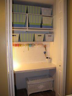 Kids closet desk laundry rooms Ideas for 2019 Small Closet Shelving, Home Decor Bedroom, Closet Desk, Scrapbook Room Organization, Home Goods, Closet Office, Home, Kid Closet, Craft Closet Organization