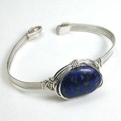 Lapis Gemstone Silver Wire Bracelet (B0074)