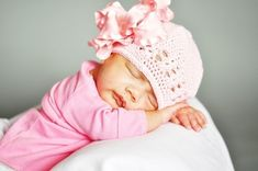 Large Double Layered Double Ruffle Bow with Infant Crocheted Beanie Free Shipping On All Additional Items on Etsy, $14.00