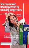 """""""You can smoke fewer cigarettes by smoking longer ones. Retro Advertising, Retro Ads, Vintage Advertisements, Vintage Ads, Vintage Posters, Smoking Ladies, Girl Smoking, Vintage Cigarette Ads, Virginia Slims"""