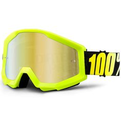 2019 100/% STRATA MOTOCROSS MX BIKE MTB GOGGLES NEON YELLOW CLEAR or MIRROR LENS