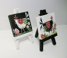 Two Mini Canvas Funky Chicken Paintings With by ToletallyPainted, $22.50