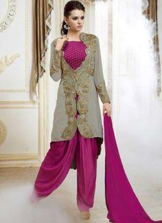 Magenta Pure Georgette With Jacket Designer Salwar Suit