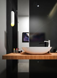 I like this for my bathroom sink. But I am also going to need a place to wash vases, glasses etc. So that may be a problem Beautiful Bathrooms, Modern Bathroom, Small Bathroom, Bathroom Inspiration, Interior Inspiration, City Bathrooms, Bathroom Toilets, Washroom, Interior Architecture