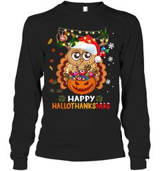 Thanksgiving Quotes Family Owl Halloween And Merry Christmas Shirt