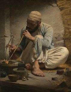 Charles Sprague Pearce (American Painter) 1851 - 1914 The Arab Jeweler, ca. 1882 oil on canvas 46 x 35 in. x cm.) signature: Charles Sprague Pearce / Paris The Metropolitan Museum of Art, New York, United States of America Metropolitan Museum, Jean Leon, Empire Ottoman, Arabian Art, Academic Art, Pics Art, Art Plastique, Islamic Art, American Artists