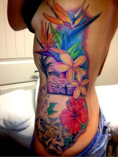 Tropical tattoo-wouldn't get this exact one, but I love the colors!