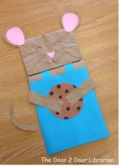 If You Give a Mouse a Cookie Milk & Cookies Storytime Paper Bag Puppet Craft by jerry Mouse Crafts, Daycare Crafts, Toddler Crafts, Crafts For Kids, Storybook Crafts, Origami, Mouse A Cookie, Paper Bag Crafts, Paper Bag Puppets