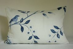 High End Designer 12x16 Lumbar Blue and White Floral Linen with Bird, Butterfly and Flowers Decorative Throw Toss Pillow Cover