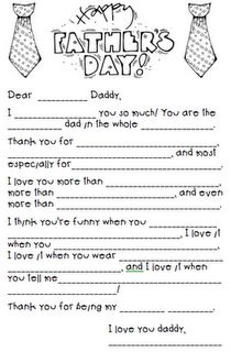 Father's Day. This would be really cute to see which words your kids would pick to fill in the blanks.