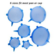 6 PCS Blue Super Stretch Silicone Fits Cover Lids DIA 7/10/12/15/17/21CM Silicone Cover Kitchen Organizer Cookware Gadget