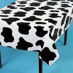 COW Print TABLE COVER Barnyard Farm Western Party Decorations Black White Spots