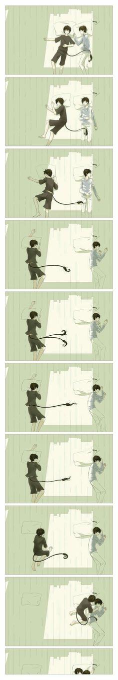 Rin, Yukio, Okumura twins, sleeping, futon, funny, cute, hugging; Blue Exorcist