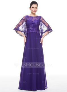 [CA$ 211.55] A-Line/Princess Scoop Neck Floor-Length Chiffon Lace Mother of the Bride Dress