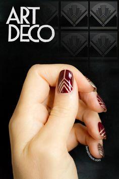 Art deco nails, tape nail art - Day 28 of the #nailart challenge