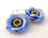 Flower earrings - Blue earrings - Windflower - Handmade spring earrings