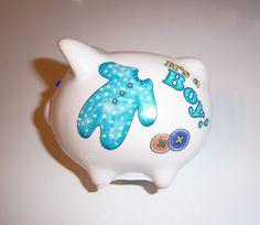 Baby Boy mini piggy bank  swarovski by MoanasUniqueDesigns on Etsy, $12.00