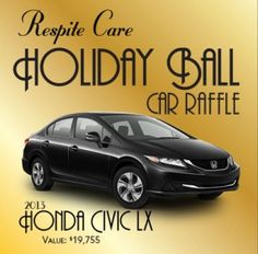 """Have you done your good deed of the day? For $20, you get a raffle ticket to win this Honda Civic! 100% of your raffle ticket cost goes to benefit Respite Care, a nonprofit that provides short-term care for children with developmental disabilities, giving respite to parents and enhancing the quality of life for the entire family. You don't have to be present to win the car, and put Lindsey Weaver in the """"referred by"""" section! https://respite.webconnex.com/13raffle#.Uhz5P84H6jE.facebook"""