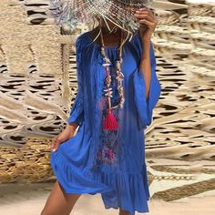 Bohemian Printed Bell Sleeves Vacation Dresses-Blue / L Casual Dresses, Fashion Dresses, Summer Dresses, Floral Dresses, Dresses Dresses, Summer Clothes, Summer Outfits, Maxi Dress With Sleeves, Short Sleeve Dresses