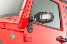 This Rigid Industries Reflect Lamp Set will change the way you look at your Jeep JK mirrors forever. With an industry-first independently adjustable mirror/light combo design, this set will allow you to keep an eye on what's behind you while also illumina Modificaciones Jeep Xj, Jeep Jl, Jeep Truck, Jeep Wranglers, Jeep Jk Accessories, Jeep Hacks, Jeep Lights, Red Jeep, Nissan