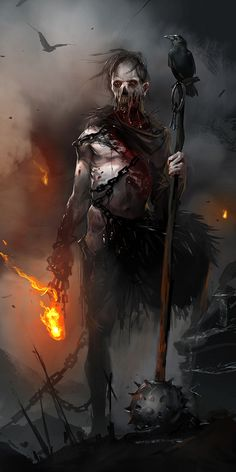 Brenoch Adams Blogasm. Zombie wielding a torch and large spiked weapon. Accompanied by black birds.