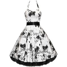 ELIZABETH TAYLOR (INSPIRED) WHITE FLORAL PIN-UP ROCKABILLY VTG PARTY DRESS - Women's Vintage Clothing