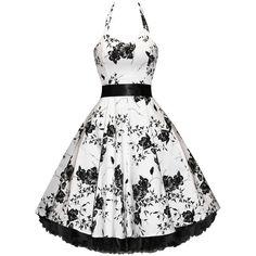 ELIZABETH TAYLOR (INSPIRED) WHITE FLORAL PIN-UP ROCKABILLY VTG PARTY DRESS - Women's Vintage Clothing