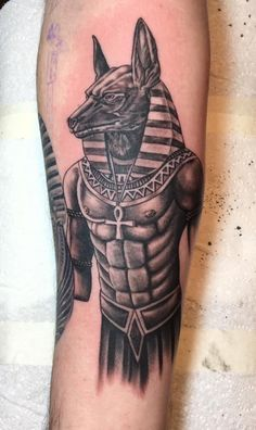 Anubis Egyptian God tattoo on my inner right forearm                                                                                                                                                                                 More