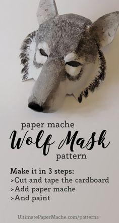 New Paper Mache Wolf Mask Pattern Paper Mache Mask, Paper Mache Crafts, Paper Mask, Maske Halloween, Halloween Costumes, Pirate Costumes, Couple Halloween, Adult Costumes, Halloween Fun