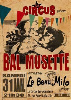 vintage poster,bal musette, France