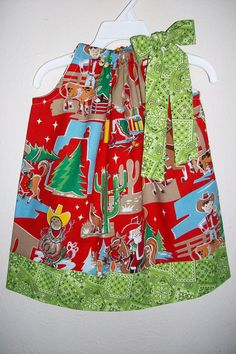 Pillowcase Dress Country Christmas Red Howdy by lilsweetieboutique