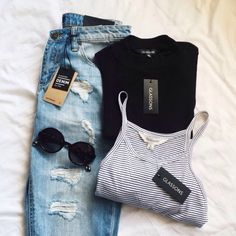 Stripped Tank Top, Black Shirt, Ripped Blue Denim Jeans, and Round Black Sunglasses