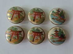 Set of 6 Vintage China/Porcelain Buttons. Japanese/Oriental Theme. 1950's. by LeObjectUnique on Etsy