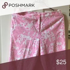 Lily Pulitzer Pink Rhino Pants EGUC (these pants are awesome)! Lily Pulitzer Pink Rhino Pants. Lilly Pulitzer Pants Capris