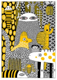 PHILIP GIORDANO Doddles and Zentangles, pattern, design, ornament, tracery, weave, graphics illustration,  funny, cute animal