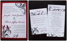 Red, Black & White Love Birds and Swirl Vine Wedding Invitations