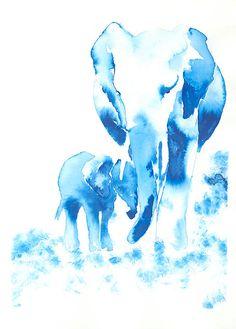 Elephant Mom and Baby Fine Art Print/ Elephant painting