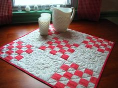 Quilted Table Topper Table Runner Red and by QuiltyMcQuilterson