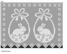 Filet Crochet, Crochet Cross, Love Crochet, Crochet Curtains, Crochet Doilies, Crochet Flowers, Cute Cross Stitch, Cross Stitch Animals, Easter Crochet Patterns