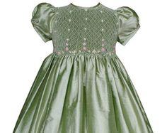Emerald Green Flower Girls Silk Dresses with Hand от CarouselWear