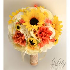 CORAL YELLOW IVORY SUNFLOWER RUSTIC BURLAP LACE