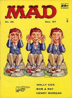 MAD #36 December 1957 cover by Norman Mingo.