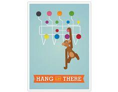 """Retro plakat med motiver af 2 design ikoner. Kay Bojesens abe og Charles og Ray Eamses' Hang it All.  Format: A3 (29,7x 42 cm.)  Printet på 200g papir.  NB! Der er """"slitage"""" i designet for at fremhæve retro looket"""