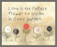 God's garden primitive stitchery with buttons